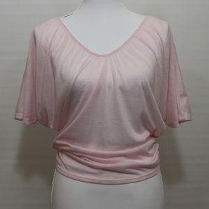 Express light pink Dolman sleeve crop top